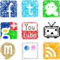 ソーシャルメディアのボタンとミニアイコン(無料DL)